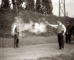 testing a bulletproof vest 1923
