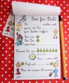 DIN A6 - Kindergarten Schule Post Block! Freunde finden! - ein Designerstück von cherryP bei DaWanda
