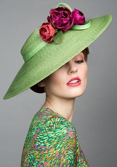 Rachel Trevor Morgan Millinery S/S 2015, R15100 Green Italian straw cut through with coloured roses