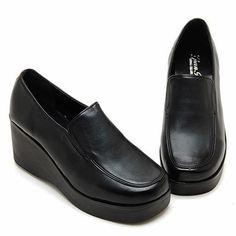 Black 7cm Wedges Platforms Loafers Comfort Heels Women Shoes US 4.5~8 #Unbranded #PlatformsWedges