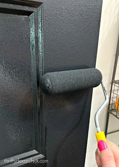 Why painting your doors black is ALWAYS a good idea - - How to paint black interior doors with a roller to get a super smooth finish. Painted Interior Doors, Black Interior Doors, Door Design Interior, Painted Doors, Interior Paint, Wood Doors, Paint Doors Black, Dark Doors, White Doors