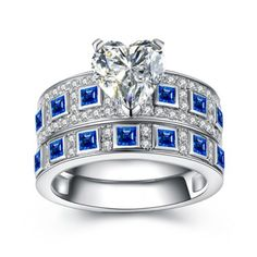Classic Heart Cut Blue Sterling Silver Women's Engagement Ring #Joancee #Jewelry