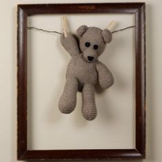 Cute way to display the bear I knit that came out way smaller than I thought.