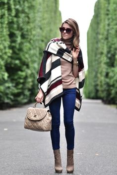 F/W Striped knit wrap, skinnies and tan platform booties