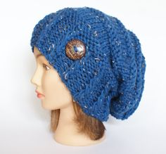 Blue Tweed slouch hat women beanies hat Slouch by Johannahats, $41.00