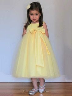 Fabulous A-line Yellow Tulle Sashes / Ribbons Square Neckline Flower Girl Dresses #DGD01031805