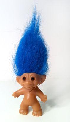 Uneeda Wishnik Troll Doll - Blue Hair