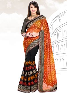Buy Online Preeti Jhangiani Black and Orange Party Wear Saree