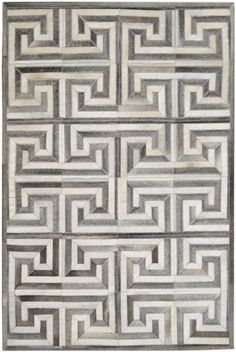 Madisons Grey & White Cowhide Patchwork Rug Maze Pattern