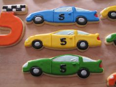 Race car cookies for a 5th birthday.  NFSC with a modified RI recipe.