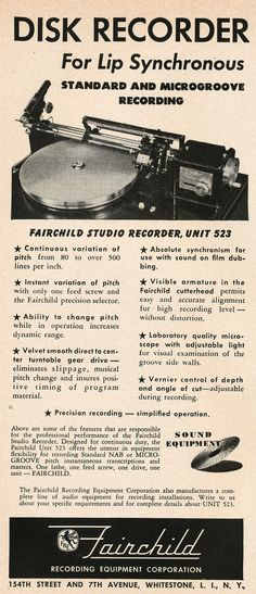 1949 Fairchild Recording Equipment Corporation ad in Reel2ReelTexas.com's vintage recording collection