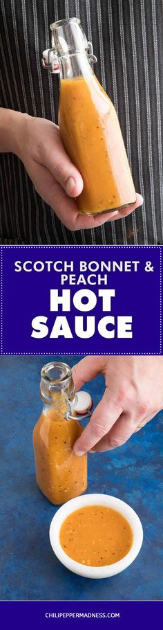 Peach-Scotch Bonnet-Peach Hot Sauce – A hot sauce recipe made with sweet peaches and fiery Scotch Bonnet chili peppers that you can drizzle over anything, though it's particularly great with chicken or fish.  #recipe #recipeoftheday #recipeideas #recipesharing #chilipeppermadness #spicyfood #spicylife #delish #tasty #foodblogeats #spicy #recipes #ilovecooking #hotsauce #ScotchBonnet #saucerecipe