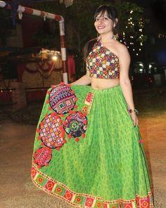 Hey guys, check it out for best look of navratri. Garba Dress, Navratri Dress, Indian Dresses, Indian Outfits, Dandiya Dress, Bollywood Lehenga, Lehenga Choli, Ghaghra Choli, Wedding Dress Patterns