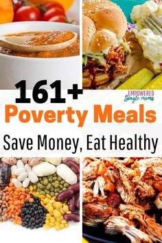 Budget recipes made with poverty food. Delicious meals for lunch and dinner. Mea… Budget recipes made with poverty food. Delicious meals for lunch and dinner. Meals to make ahead with your crockpot. Yummy meals with lentils, black beans and more. Dirt Cheap Meals, Cheap Easy Meals, Inexpensive Meals, Cheap Dinners, Healthy Cheap Meals, Extremely Cheap Meals, Cheap Vegetarian Meals, Cheap Meat, Vegetarian Barbecue