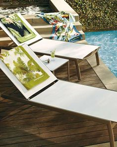 Relax poolside in chic style this summer with the Newport Chaise Lounge Chairs.