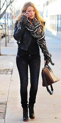 Black tee and jeans, leather cropped jacket, graphic scarf, booties. B L