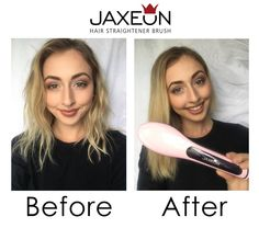 (Kate M, 24 Newcastle NSW) with Jaxeon Hair Straightener Brush, get yours today at www.jaxeonhair.com.au