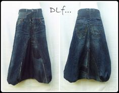 "ART TEXTILE, MODE sarouel jean recyclage pantalon  - Sarouel ""Dark Blue"""