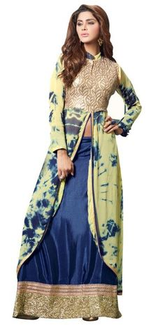 Fancy Yellow And Blue Georgette Anarkali Suit.