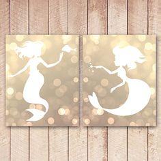 Gold Bokeh Mermaid Nursery Art Prints, Printable Art, 8x10 Wall Art, Nursery Prints, Mermaids, Instant Download, Gold Nursery, Poster on Etsy, $10.00