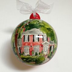 Custom home portrait ornament- housewarming, hostess gift, personalized keepsake from your photo by Cathie Carlson