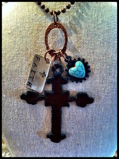"""Hand Stamped, Rustic, Recycled Metal Cross Pendant Necklace """"FAITH"""""""