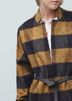 Check pattern textured coat - Coats for Women | MANGO