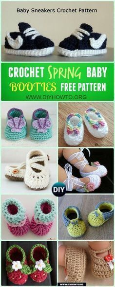 Crochet Baby Booties Slippers for Spring and Crib Walkers, Easy Quick Crochet Gifts for Baby girl and boy via @diyhowto #crochetbaby #crochetbabygirls