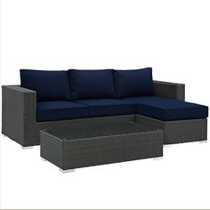 Modway Furniture Modern Sojourn 3 Piece Outdoor Patio Sectional Set in Sunbrella®