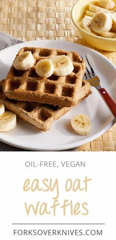 Surprise: You don't need eggs, oil, or dairy to make waffles or pancakes. Here, rolled oats are ground into a coarse flour for tender, textured oat waffles. Oatmeal Flavors, Vegan Oatmeal, Baking Recipes, Whole Food Recipes, Oatmeal Waffles, Healthy Waffles, Healthy Food Alternatives, Plant Based Breakfast, Waffle Recipes