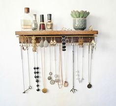 Jewelry Organizer With Shelf, Necklace Holder, Bracelet and Earring Holder -- Gray Stain ...