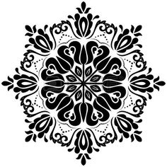 Floral vector oriental pattern with arabesque and floral elements. Abstract ornament for background. Black and white colors , Mandala Dots, Mandala Design, Mandela Patterns, Easy Flower Drawings, Mandala Stencils, Black White Art, Oriental Pattern, Painted Floors, Stencil Painting