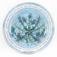 Selkirk grace hand painted onto this lovely platter.  Hand-made in Scotland.  Great decoration item or use for special occasions. www.celticcorner.net
