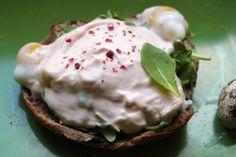 W/o the bread - Soft boiled egg with savory tomato yogurt!