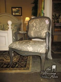 "Traditional style accent chair in a cream and gray patterned upholstery on painted wood frame. Beautiful! Would be gorgeous in a bedroom or a living room. 27""W x 29""D x 39""H. At posting, we have a pair."