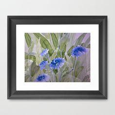 Blue Painterly Flower Garden Framed Art Print by Judy Palkimas - $35.00