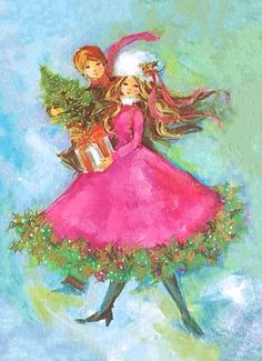 Fanciful Christmas couple.