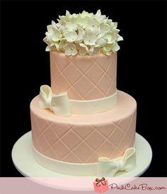 Simple Pink Hydrangea Bridal Shower Cake » Bridal Shower Cakes