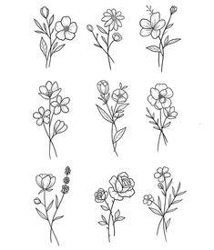 Simple Flower Tattoo, Small Flower Tattoos, Dainty Tattoos, Pretty Tattoos, Mini Tattoos, Cute Tattoos, Body Art Tattoos, Small Tattoos, Small Flower Drawings