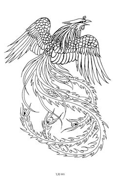 Asian Phoenix And Flowers Tattoo Sketch photo - 2 Phoenix Design, Phoenix Tattoo Design, Phoenix Tattoos, Colouring Pages, Adult Coloring Pages, Japanese Phoenix Tattoo, Pixel Tattoo, Phoenix Drawing, Tattoo Designs