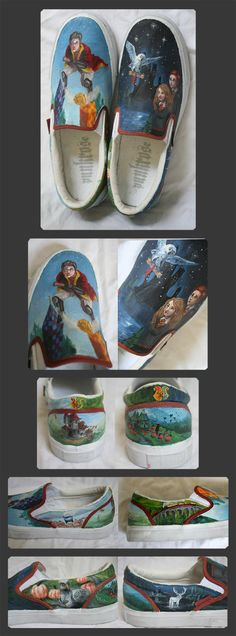 Harry Potter shoes by ~Revonael on deviantART Harry Potter Shoes, Harry Potter Items, Art Shoes, Shoe Art, Ethnic Outfits, Mischief Managed, Painted Shoes, Hermione Granger, The Wiz