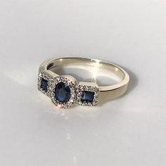 9ct White Gold, Sapphire & Diamond Ring Sapphire Diamond, Blue Sapphire, Vintage Jewellery, White Gold Rings, Deep Blue, Antiques, Jewelry, Antiquities, White Gold Wedding Rings