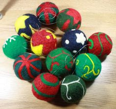Needle Felted Christmas Ornament Ball by HandFactory on Etsy