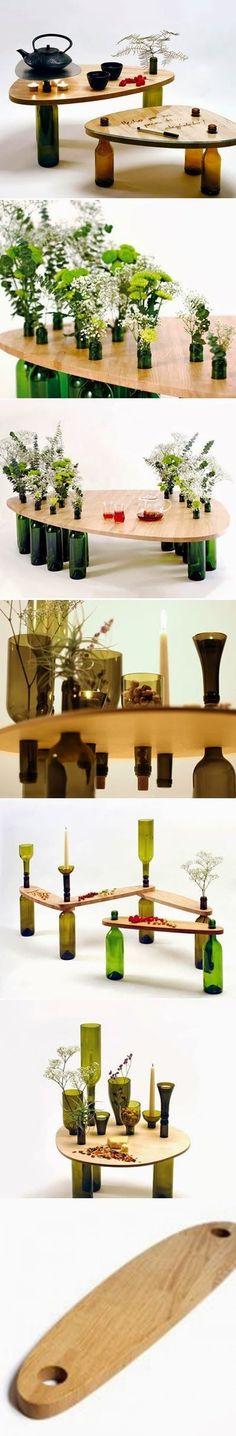 Use my Vodka bottles!! DIY : Used Wine Bottle Table | DIY Crafts Tutorials                                                                                                                                                     More