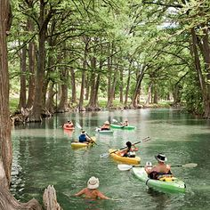 Kayak the Medina River    Winding through tunnels of towering bald cypress trees on its way to Bandera, the Medina River doesn't get the crowds that flock to the Guadalupe River. So you have most of it to yourself as you spend a couple of hours of bliss in a kayak rented from the Medina River Company, 830/796-3600.