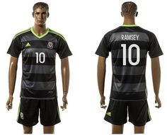 Wales #10 Ramsey Black Away Soccer Country Jersey