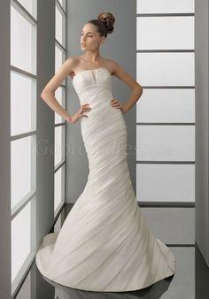 Fashion Sleeveless Organza Mermaid Pleated Wedding Dress#GOCR54012437