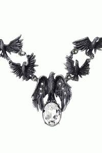 Alchemy Of England – A Murder Of Crows Necklace In Pewter/Black Enamel/Swarovski