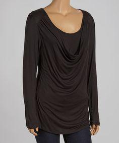 Look at this #zulilyfind! Black Burnout Drape Top - Plus #zulilyfinds