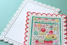 perforated paper cross stitch cards